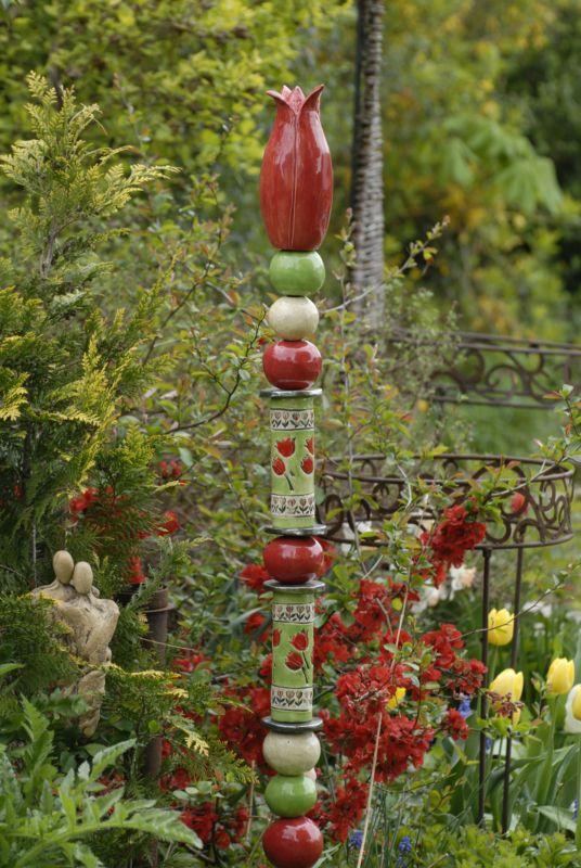 Keramik Stele Dekoration Getopfert Handarbeit Garten Rosenkugel Ton Gartenskulptur Gartenkeramik Keramik