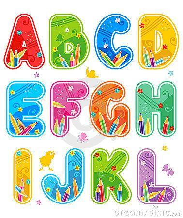 Letras determinadas a l del alfabeto pinteres - Letras decorativas para ninos ...
