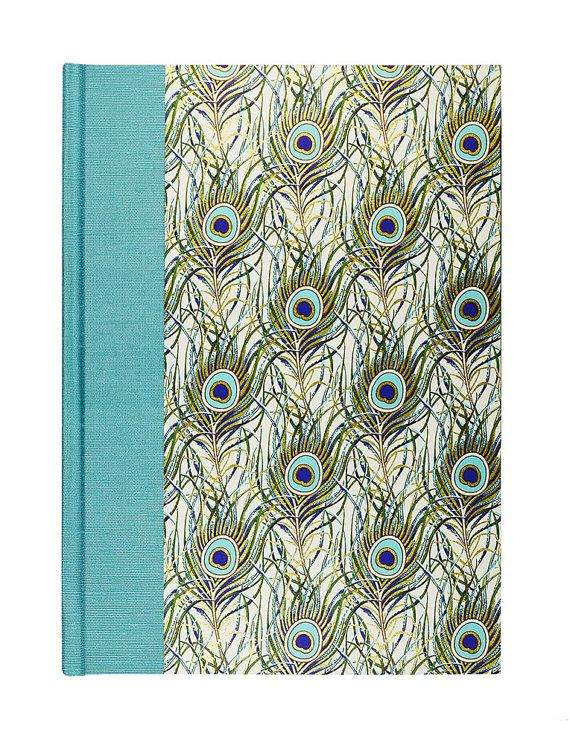 Blank Book Lined Paper Journal TEAL PEACOCK by WolfiesBindery - lined paper with picture