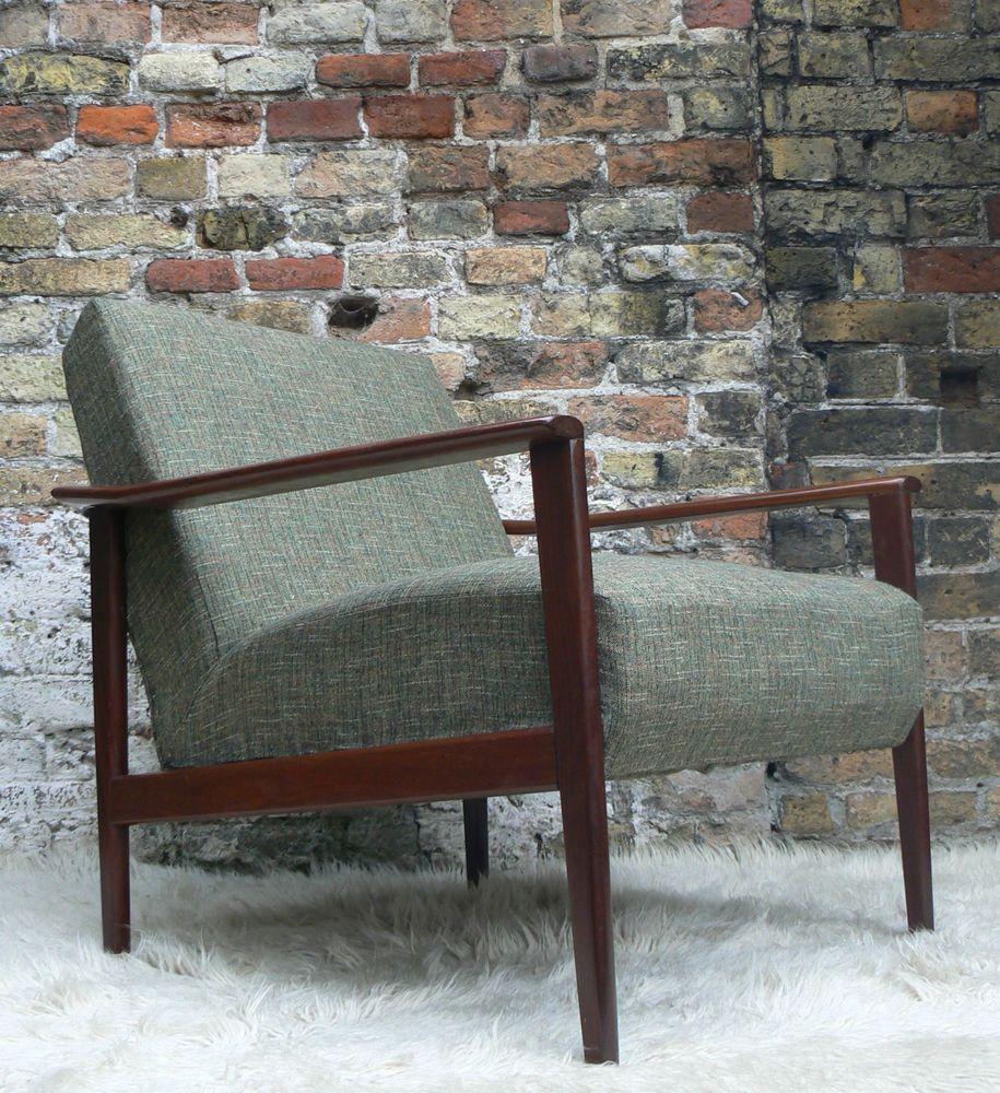 1960s Danish Style Rosewood Armchair Tweed 50s 70s Retro Vintage Mid Century Rosewood Armchair Bedroom Vintage Retro Furniture