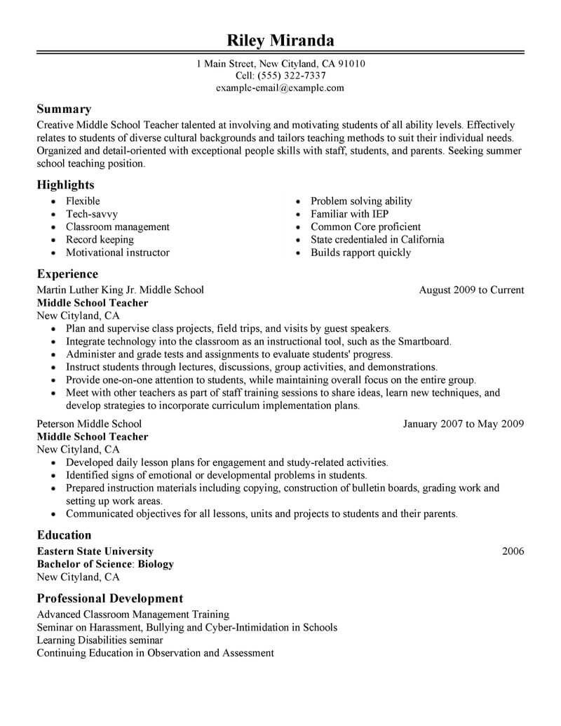 Best Summer Teacher Resume Example LiveCareer Teaching