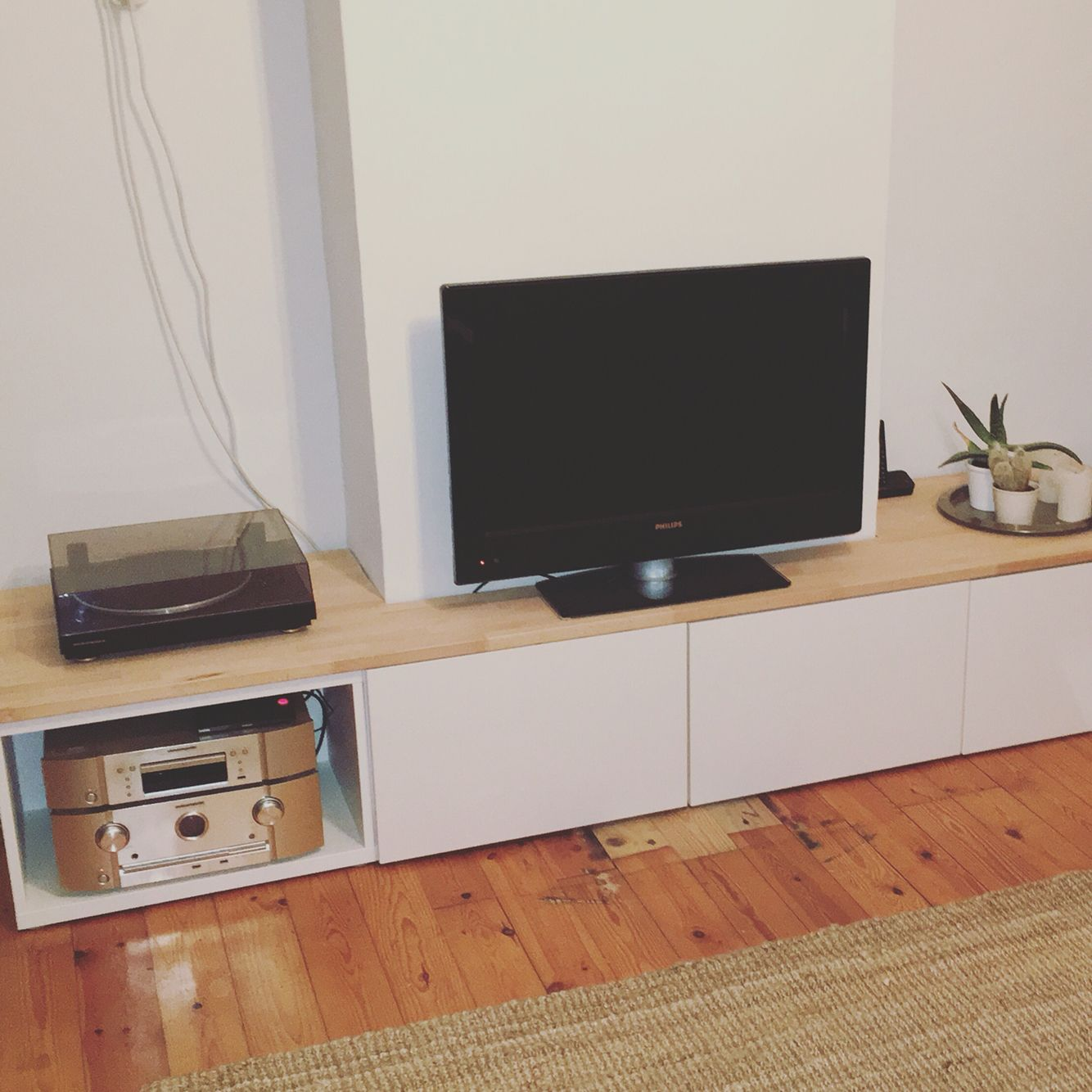ikea hack: from besta cabinets to custom wraparound tv console for