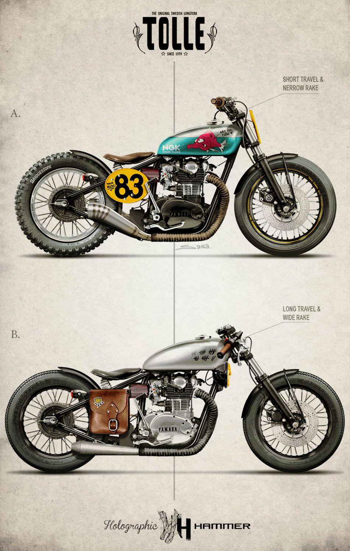 Dessin Moto Custom two radical yamaha xs650 custom motorcycle concepts from designer