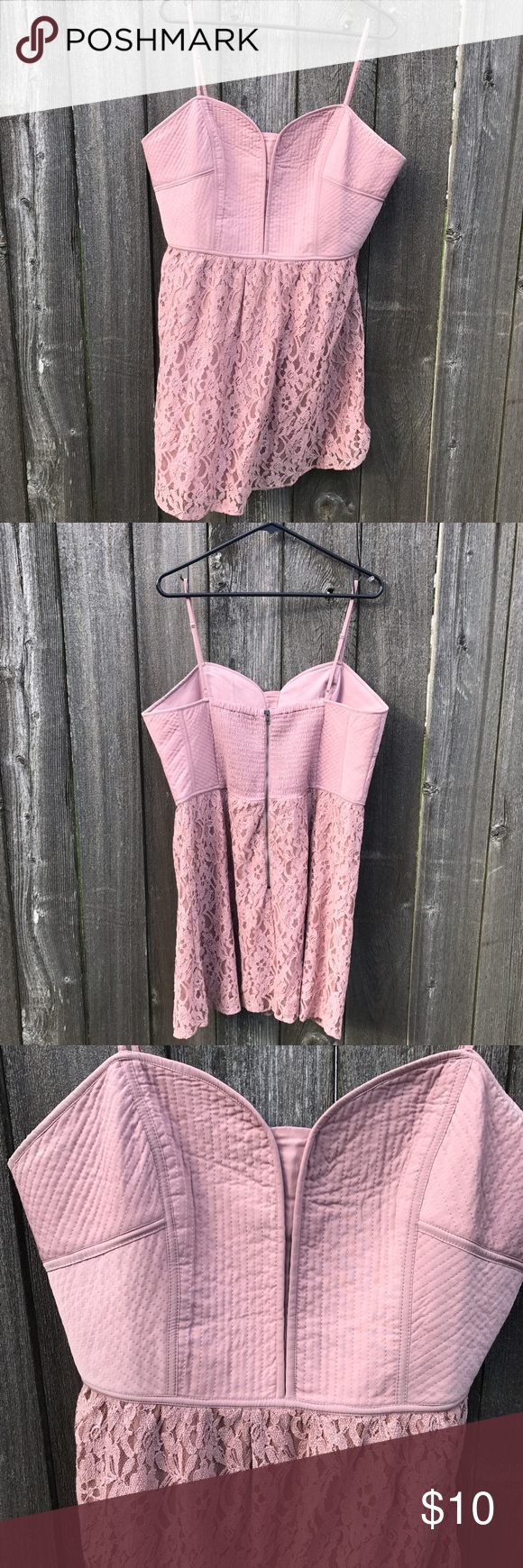 American Eagle Pink Lace Dress Light pink American Eagle lace dress. Structured bodice with lace skirt that hits above the knee. Exposed zipper and elastic in the back for some stretch. Skirt is not A-line. American Eagle Outfitters Dresses
