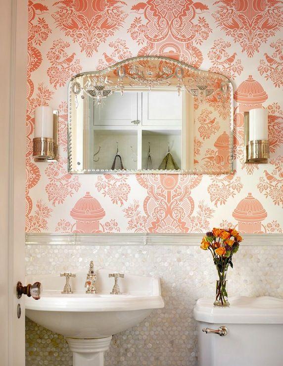 Powder Room With Damask Wallpaper Alan Design Studio Bathrooms
