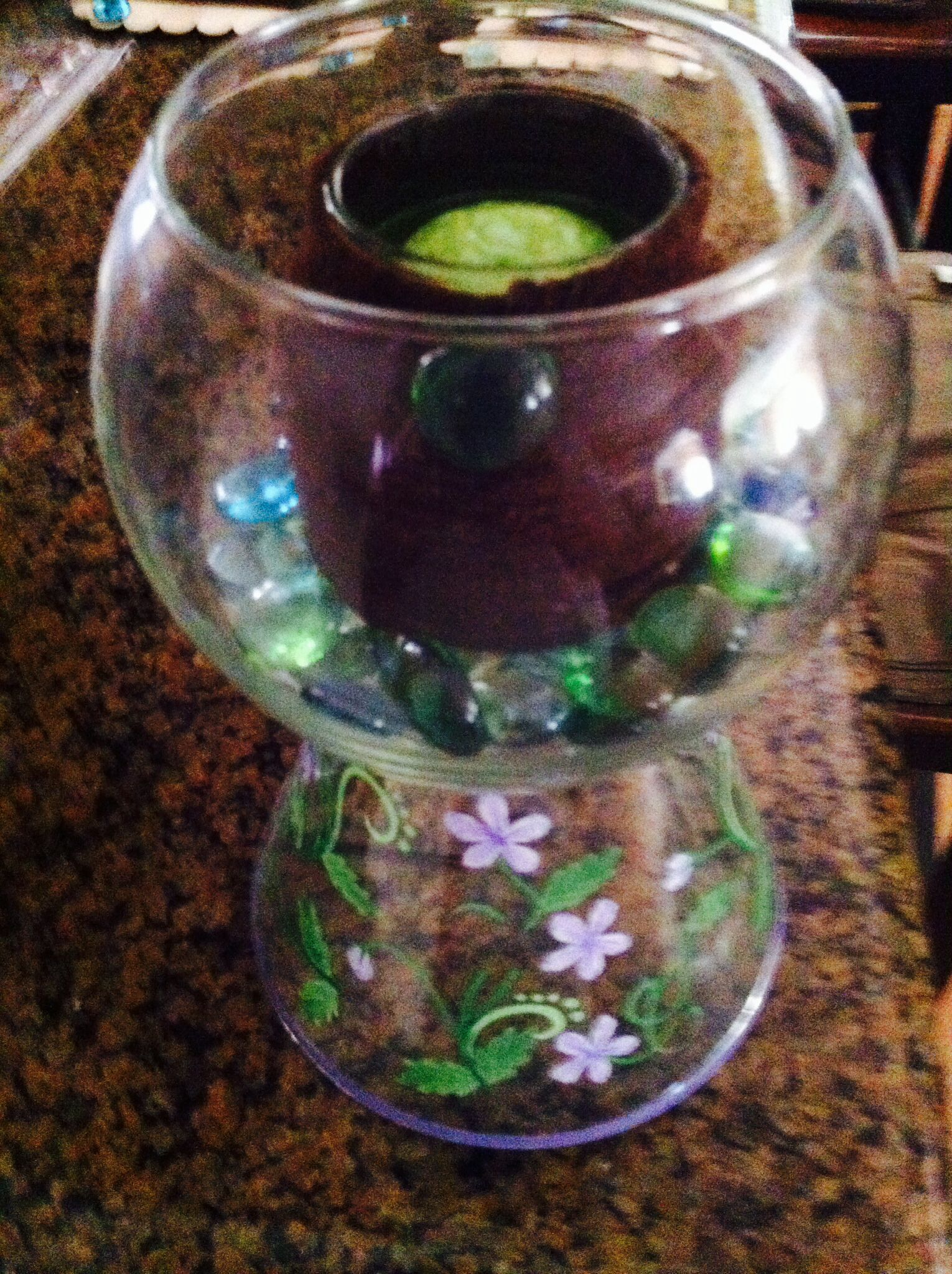 What To Put In A Bowl For Decoration Fun Home Decor Using A Glass Bowl Glued To A Glass Candle Cover
