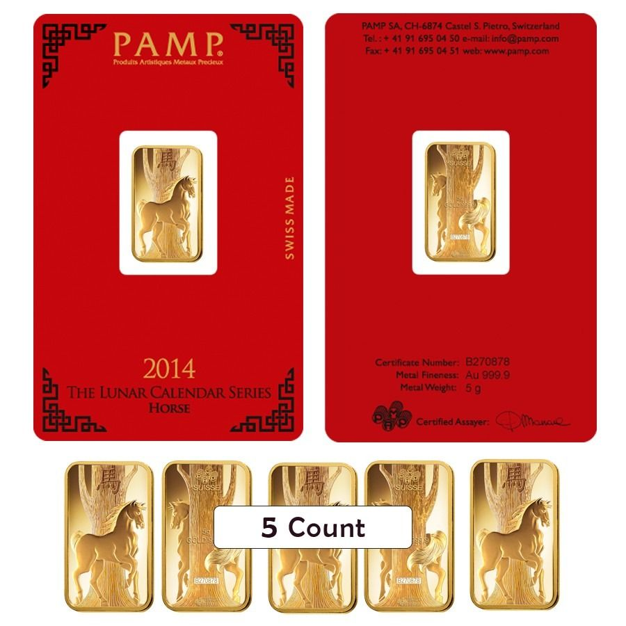 Lot Of 5 5 Gram Pamp Suisse Year Of The Horse Gold Bar In Assay Gold Bar Year Of The Horse Gold