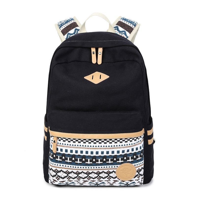 Flower Print Casual Backpack Canvas School Travel Bag   Bags ... 927879c28f