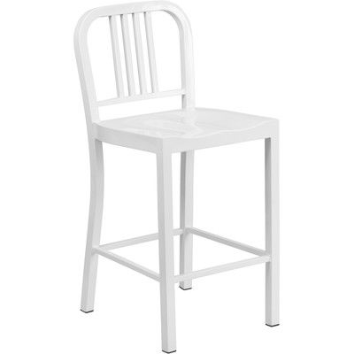 Mercury Row Pinedale 24 Bar Stool Set Of 2 Finish White Products Metal Bar Stools Outdoor Bar Stools Counter Height Stools