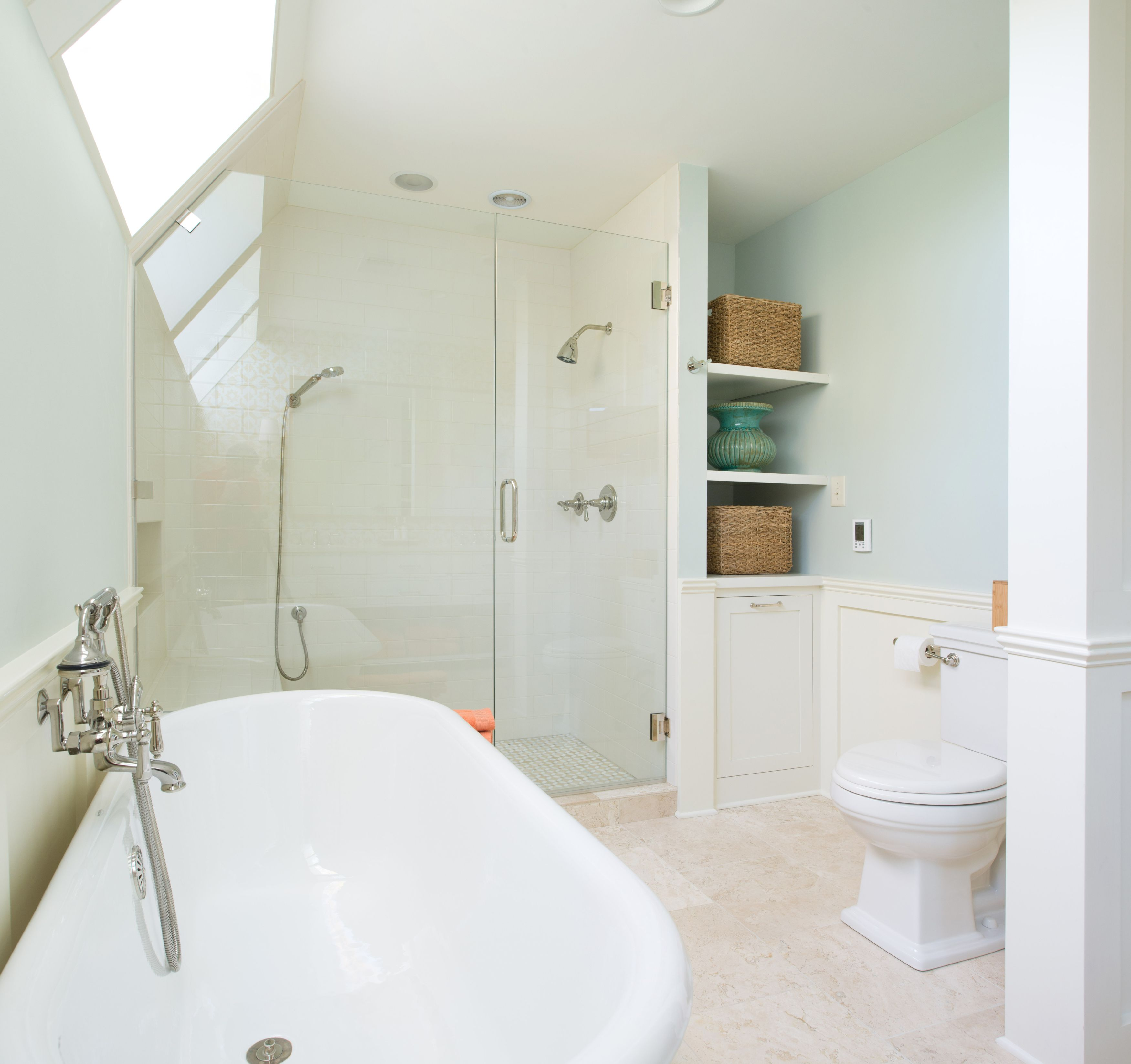 Kitchen And Bathroom Remodeling Contractors: Tiled Shower With With Euro Glass Shower Doors, Free