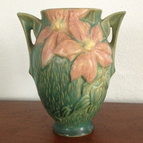 Roseville Clematis Vase 102 6 Two Handles Green With Pink Flowers
