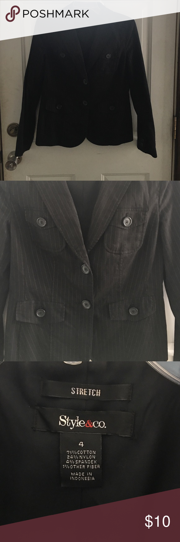 Black Pen Stripped Blazer Black pen stripped blazer with buttons and 4 pockets. Belt buckle in back. Style & Co Jackets & Coats Blazers