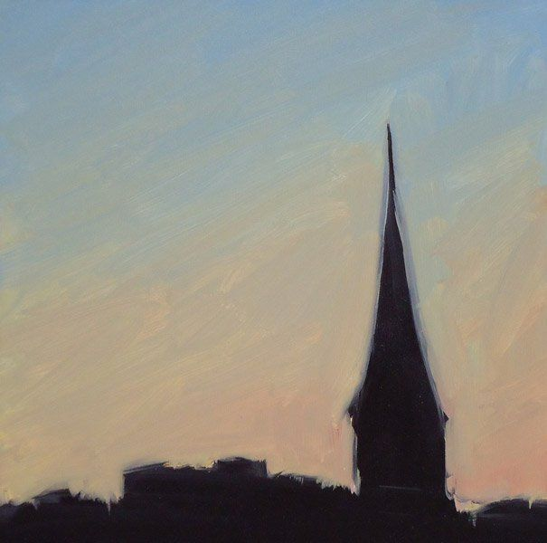 """""""View From Downtown #24,"""" Melissa Anne Miller, oil on panel, 6 x 6, $600"""
