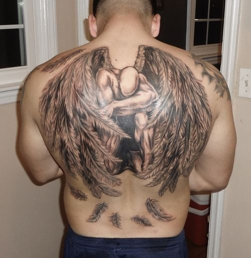 black and grey guardian angel wings tattoo. Black Bedroom Furniture Sets. Home Design Ideas