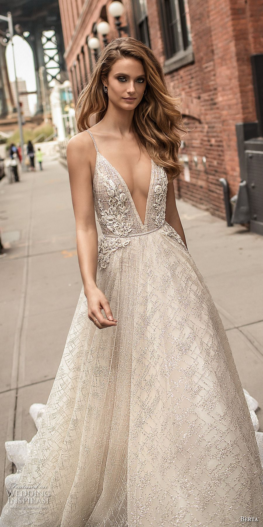 02e6ff4d7774 berta spring 2018 bridal spaghetti strap deep v neck full embellishment  sexy romantic a line wedding dress open back chapel train (2) zv -- Berta  Spring ...