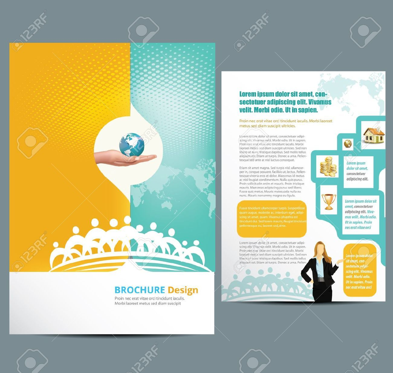 Brochure Design Template. Geometric shapes, Abstract Modern ...