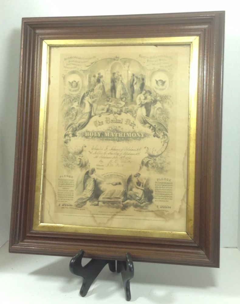 Antique Framed 1873 Marriage Certificate Potsdam Ny Baby Girl