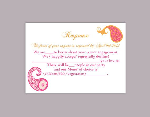 DIY Bollywood Wedding RSVP Template Editable Word File Instant - party rsvp template