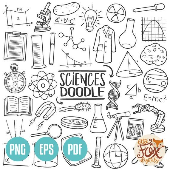 SCIENCE, doodle vector icons. Laboratory Study Che