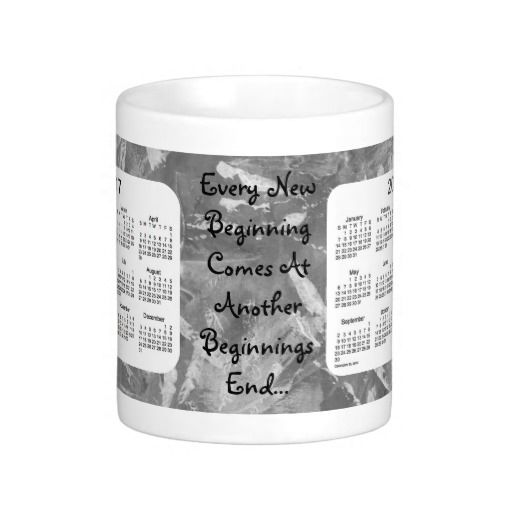 2017 Calendar 2018 New Beginnings Black Coffee Mug Design from Mug Designs by Janz
