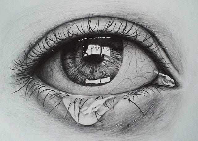 Fashion style Drawings pencil of eyes crying for lady