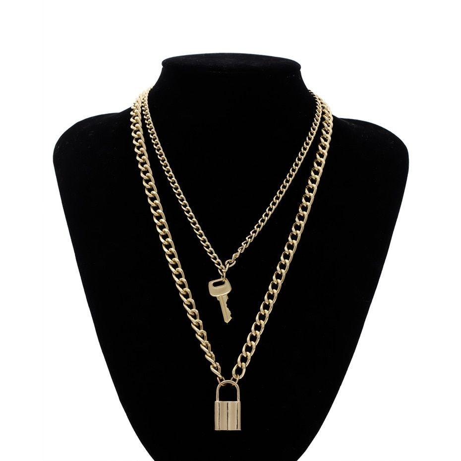 Photo of Multi Layered Lock Key Pendant Necklace Statement – Golden