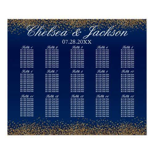 Gold Confetti and Navy Blue - 15 Seating Chart Blue Wedding Ideas