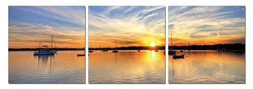 Sunset`s Spectators. Contemporary Art, Modern Wall Decor, 3 Panel Wood Mounted Giclee Canvas Print, Ready to Hang A1096 for only $69.99 You save: $99.01 (59%)