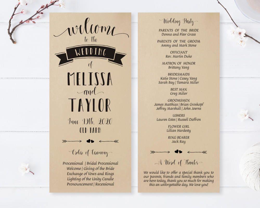 Modern wedding programs printed on kraft cardstock Calligraphy