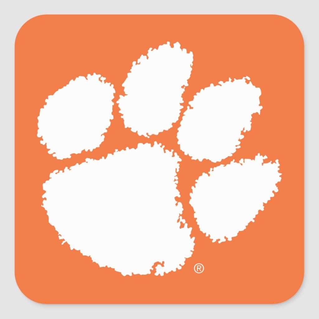 Clemson University Tiger Paw Square Sticker Zazzle Com In 2020 Tiger Paw Clemson University Tigers Clemson University