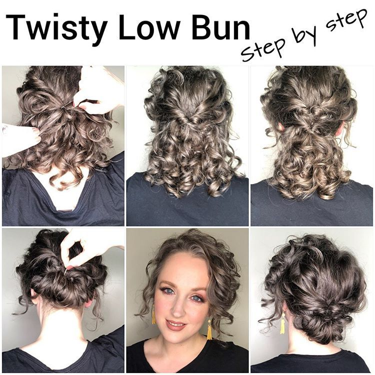 Curly Twisty Low Bun In 2020 Naturally Curly Hair Updo Curly Hair Updo Tutorial Naturally Curly Updo
