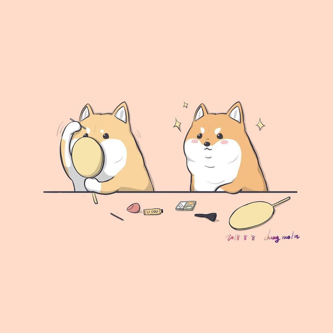 Shiba Dog Animal Pets Funny Cute Cute Drawings Chibi Eyes