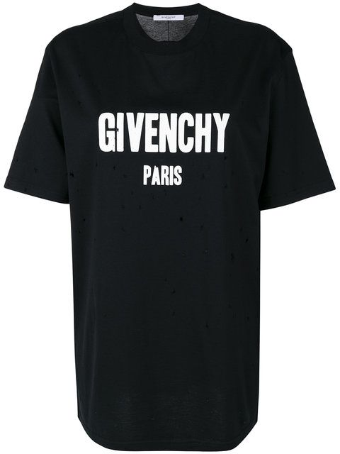 604d9795a GIVENCHY Columbian-Fit Distressed Logo T-Shirt.  givenchy  cloth  t-shirt
