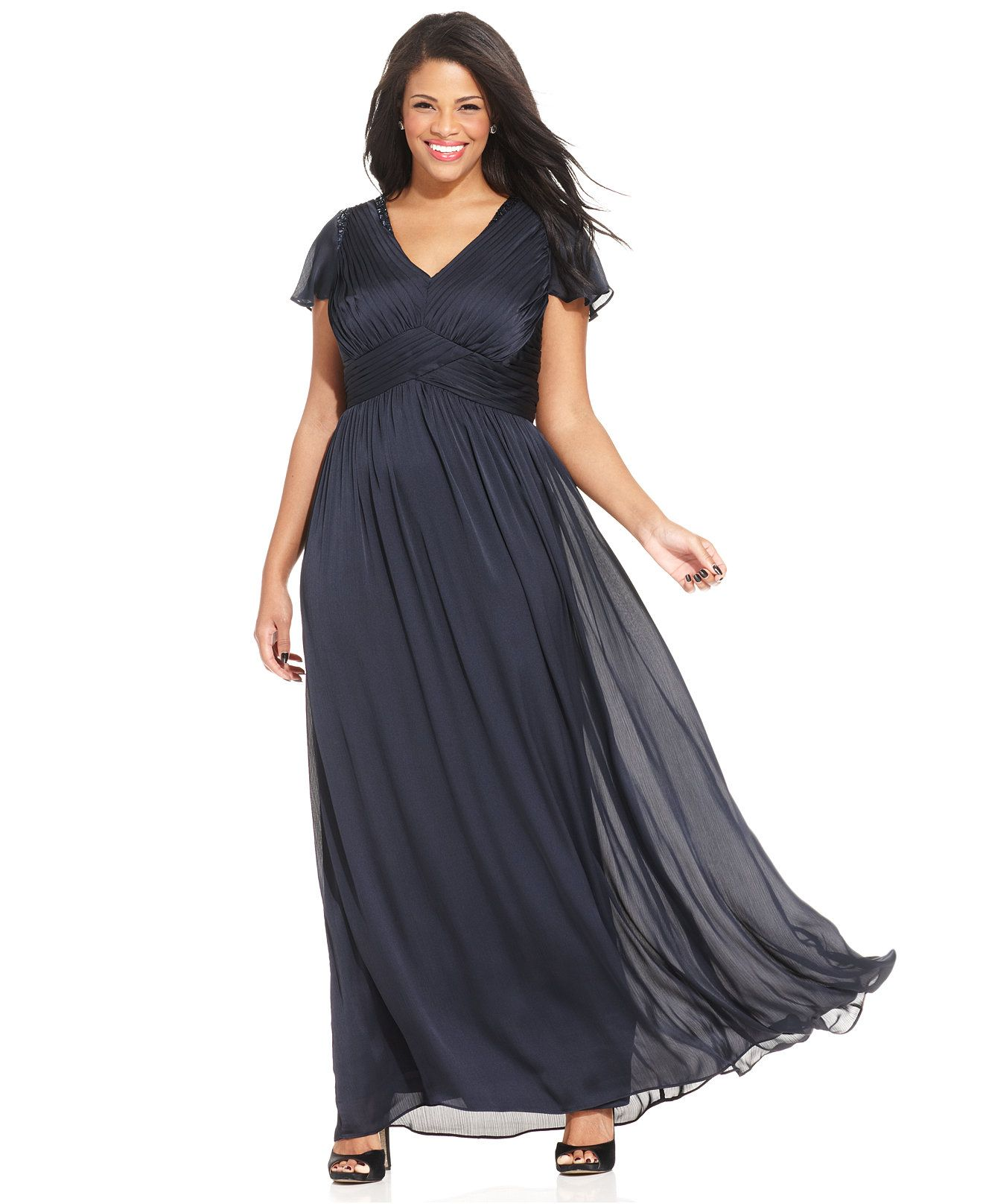 Adrianna Papell Plus Size Flutter-Sleeve Pleated Gown - Dresses ...