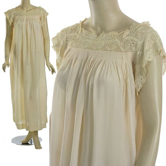 Antique Victorian Nightgown Edwardian Lace by mmmoonchild on Etsy ... 5c2a664bb