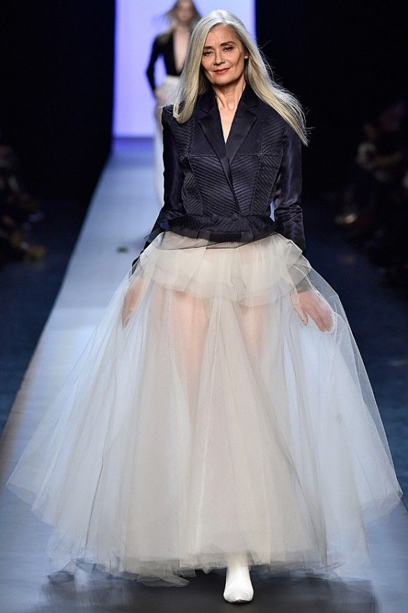 Jean Paul Gaultier tuxedo style jacket and floor length tulle finishing