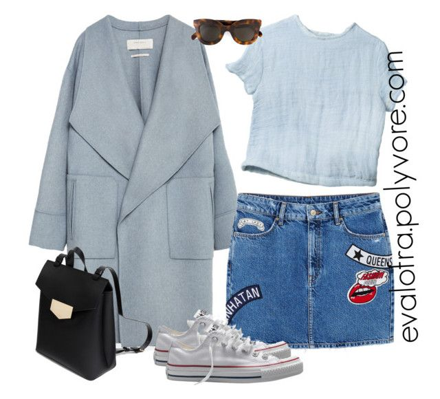"""""""Untitled #361"""" by evalofra ❤ liked on Polyvore featuring Zara, MANGO, Converse, CÉLINE, outfit and ootd"""