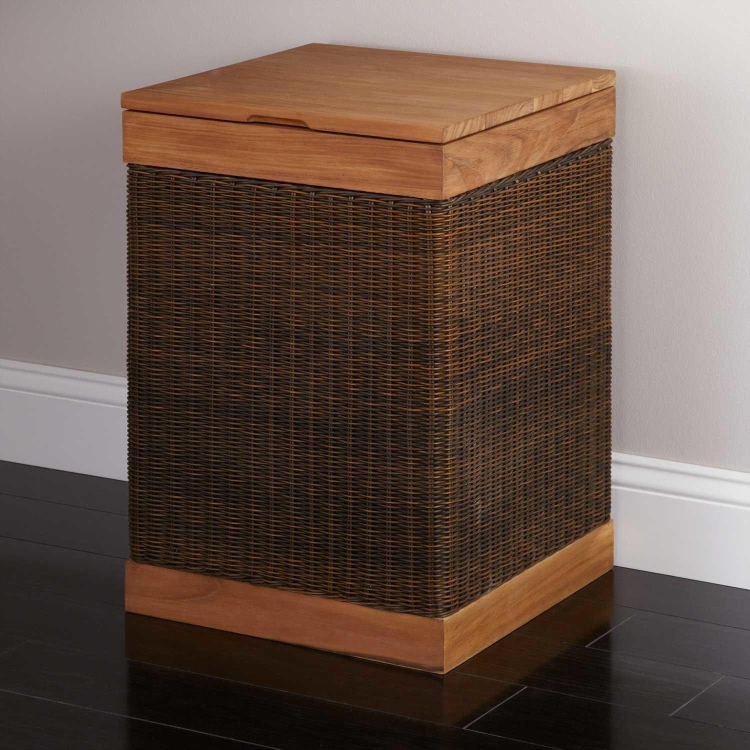 Hinged Lid Teak Clothes Hamper With Liner Hampers Laundry Wooden