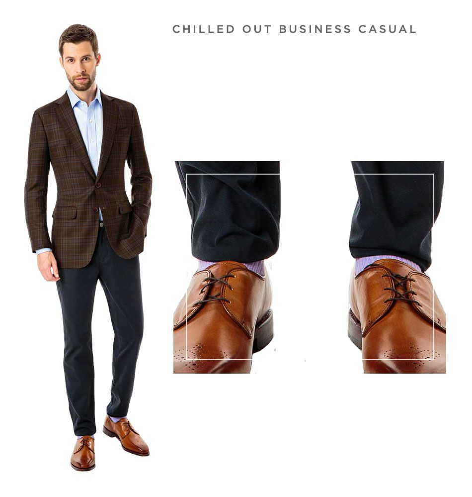 Chilled-out-business-casual, Bedford Brown with Blue Plaid Custom Blazer  with
