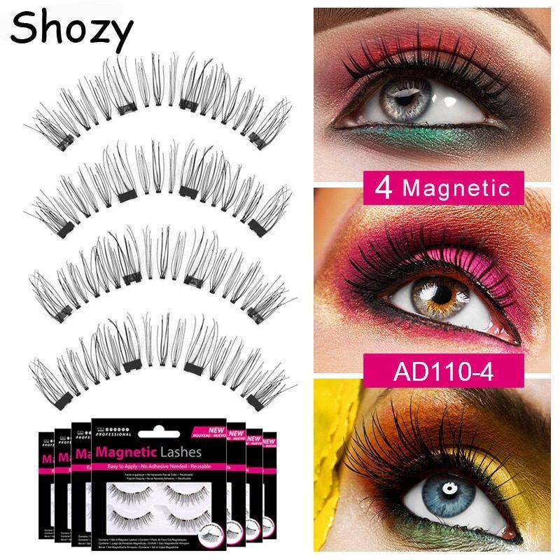 2ecfcf73317 Shozy Handmade magnetic eyelashes with 4 magnets 3D magnetic lashes natural  long false eyelashes magnet lash with gift box-AD110