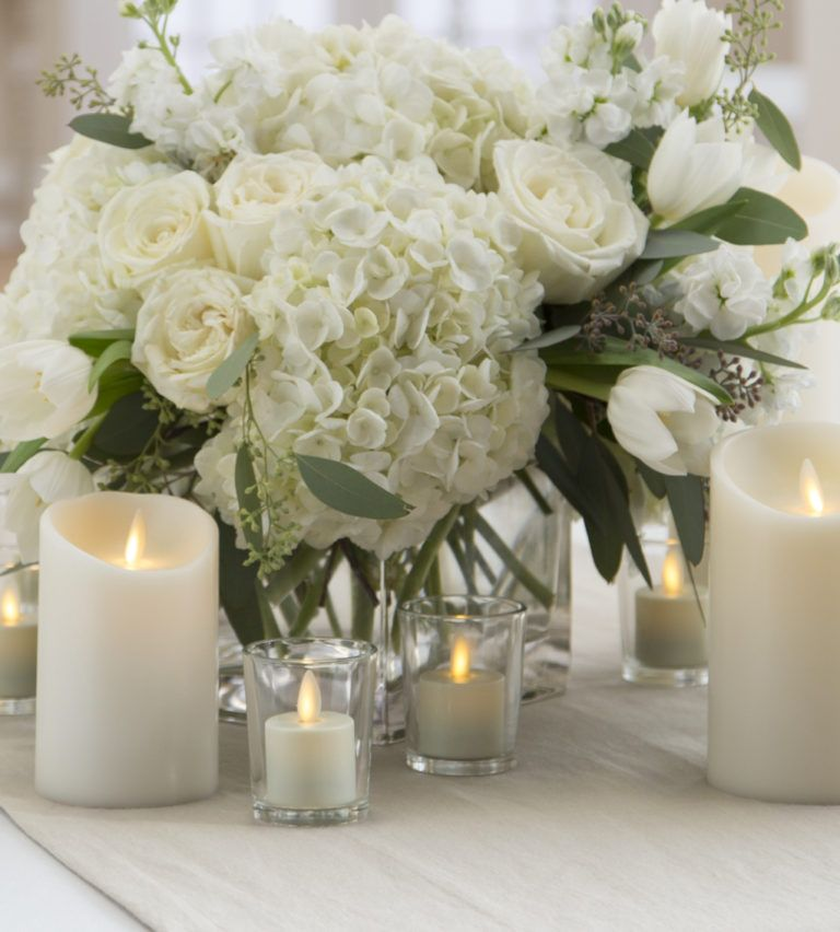 Soft And Romantic Candlelight Wedding Inspiration: 10 Romantic Flameless Candle Wedding Centerpiece Ideas