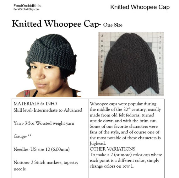 Knitting PATTERN- Jughead Hat, Whoopee Cap, Riverdale Hat six or ...