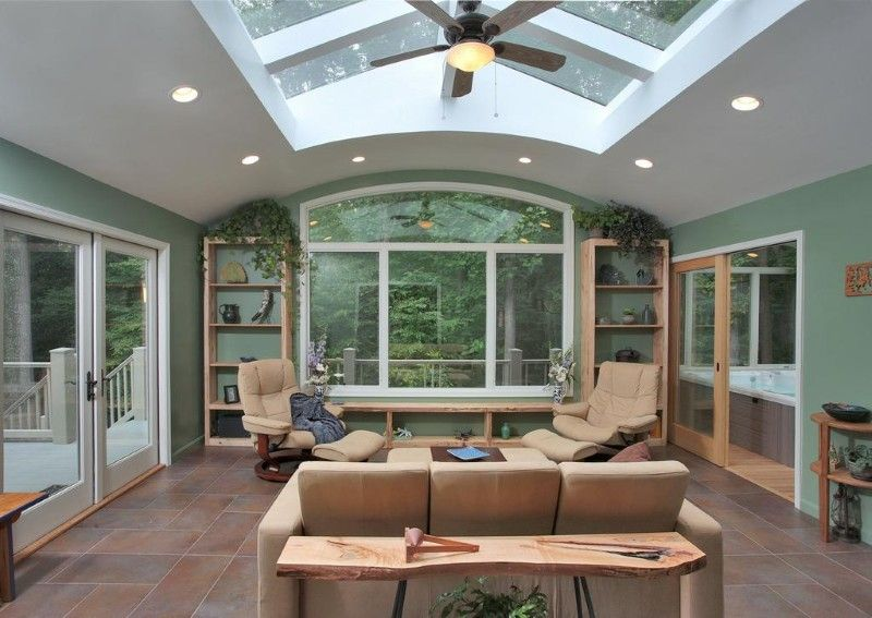 green paint wall grey ceiling feat glass combine sunroom design ideas with grey ceiling fan with brown sofa on brown floor with glamorous living room and - Sunroom Design Ideas
