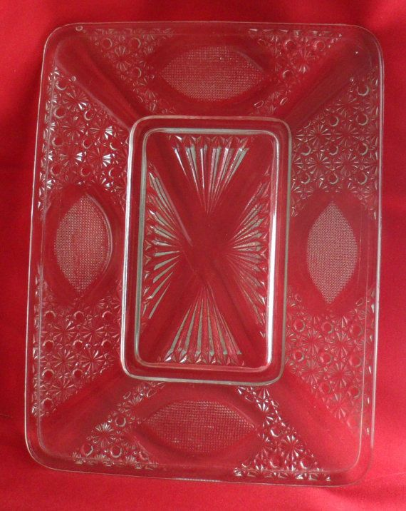Circa 1960s RECTANGULAR ETCHED GLASS Tray  Large Glass by BYGONERA, $30.00
