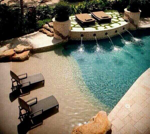 Ocean Inspired Pool Beach Entry Pool Pool Outdoor