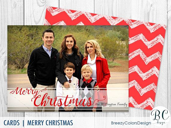 chevron christmas card template happy holiday family pictures