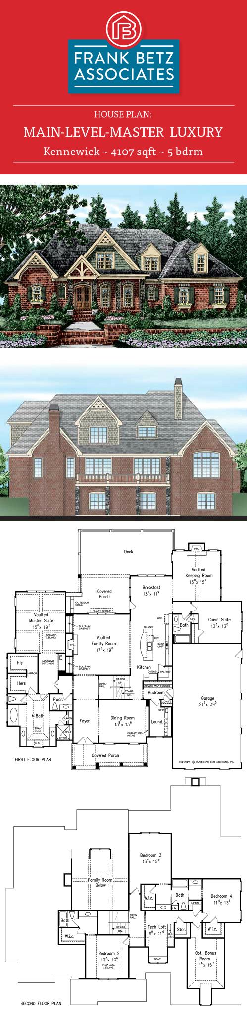 Kennewick: 4107 sqft, 5 bdrm, Main-level-master, Luxury house plan design by Frank Betz Associates Inc. #houseplan #frankbetz #housedesign