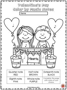 Valentine's Day Music Activities: Color by Music Notes and