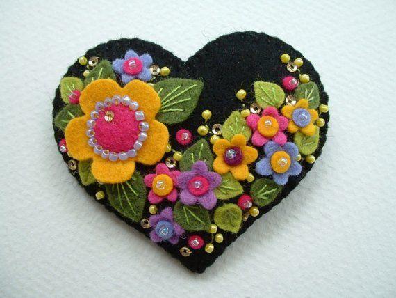 Felt Flower Heart Brooch
