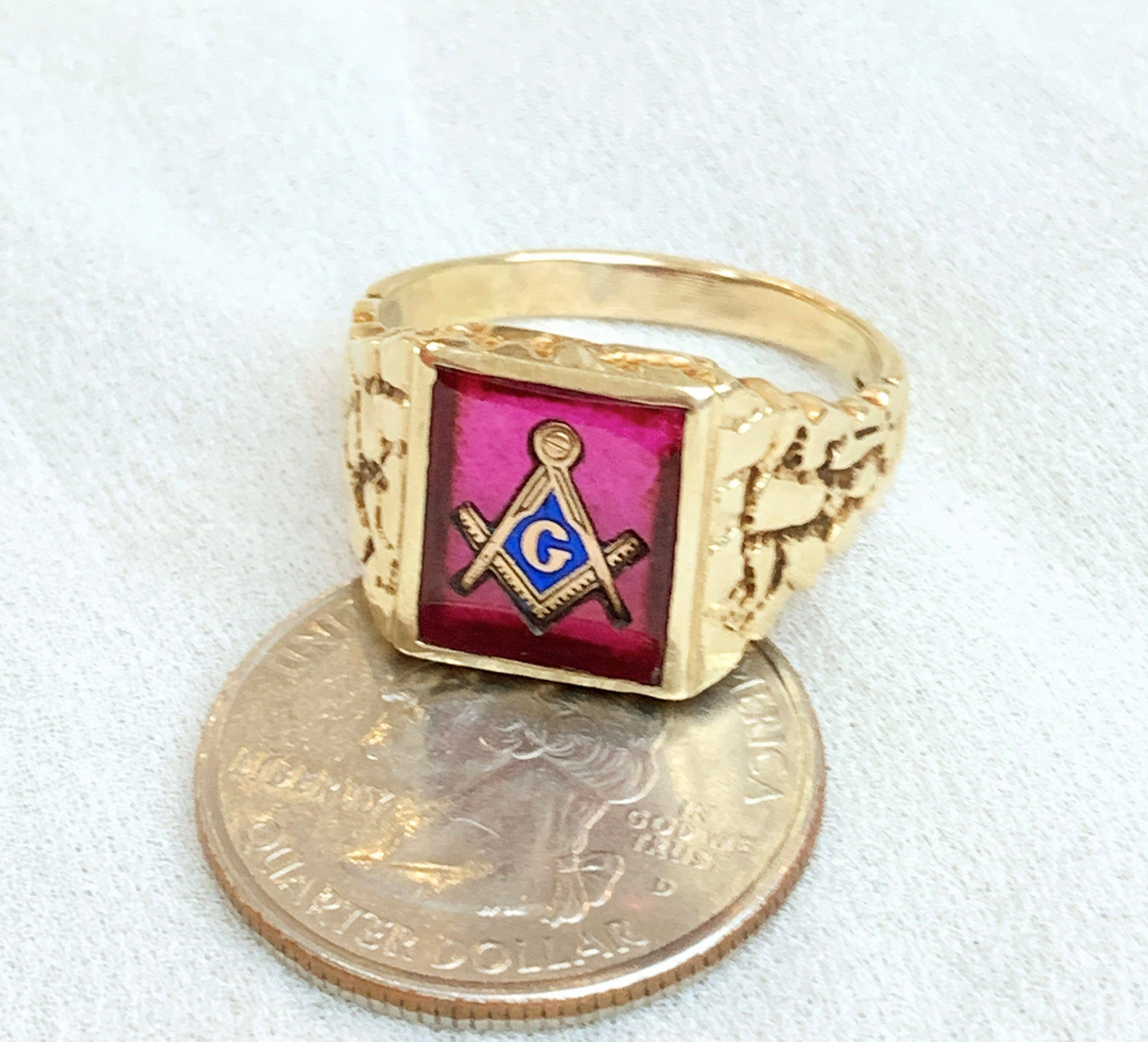 Gents 10k Yellow Gold Masonic Signet Ring Size 11 1 2 Vintage 10k Gold Blue Lodge Mason Ring Synthetic Red Ruby Blue Lodge Masonic Rings Gold Jewelry For Sale Masonic Ring